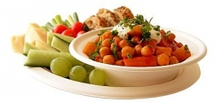 bagasse plate and bowl with fruit
