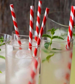 red stripe paper straw in drinks opt