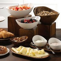 Alchemy Wooden Buffet Bowls, Risers and Platters with Food Displayed