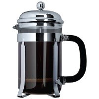 Glass and Chrome Cafetiere with Coffee