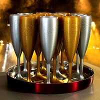 Reusable Gold & Silver Plastic Champagne Flutes