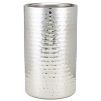 Wine Bottle Cooler Hammered Stainless Steel