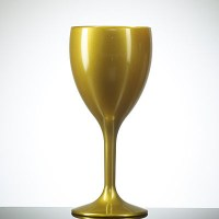 GOLD Coloured Reusable Elite Plastic Wine Glass
