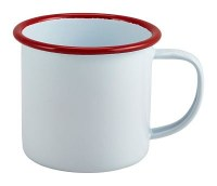 WHITE Enamel Mug with Red Rim