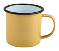 YELLOW Enamel Mug with Black Rim