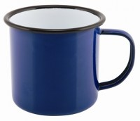 36cl BLUE Enamel Mug with Black Rim
