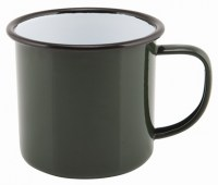 36cl GREEN Enamel Mug with Black Rim