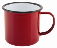 36cl RED Enamel Mug with Black Rim
