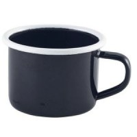 12cl BLACK Enamel Mug with White Rim
