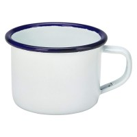 12cl White Enamel Espresdso Mug with Blue Rim
