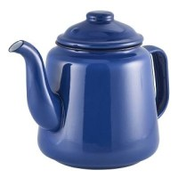 Blue Enamel Teapot with Black Rim