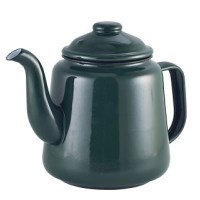 Enamel Teapot GREEN with Black Rim 52.75oz / 1.5L