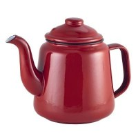 Enamel Teapot RED with Black Rim 52.75oz / 1.5L