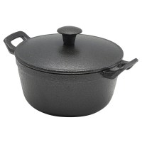 CAST IRON Round Casserole Dish used without lid serving prawns.