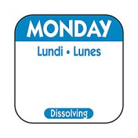 MONDAY Dissolving Food Day Label BLUE