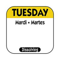 TUESDAY Dissolving Food Day Label YELLOW