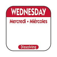 WEDNESDAY Dissolving Food Day Label RED
