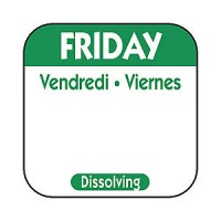 FRIDAY Dissolving Food Day Label GREEN