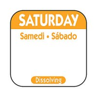 SATURDAY Dissolving Food Day Label ORANGE