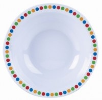 White Melamine Bowl with Coloured Circles
