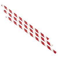 White Paper Bottle Straw with RED STRIPE 23cm / 9inch