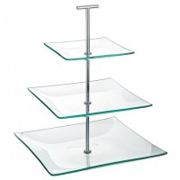Aura 3 Tier Glass Cake Stand 24.5cm