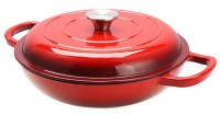 RED Cast Iron Shallow Round Casserole Dish 27cm / 3.5Ltr