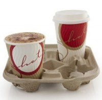 4 Cup Carry Tray in moulded fibre board
