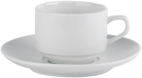 Economy White Porcelain Stacking Cup & Saucer