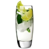Endessa Hi Ball Glass with drink, ice and lime.
