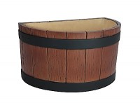 Half Barrel End Ice Tub - Wood Grain Effect