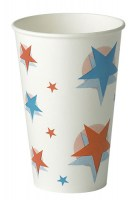 300ml Cold Drink Paper Cup. Red & Blue Star/Ball Design.