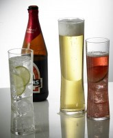 Tall Regal Polycarbonate Glasses with drinks.