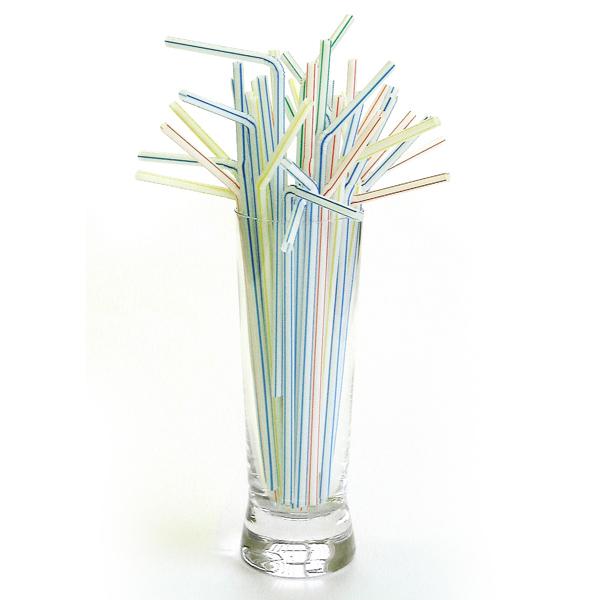 Striped Plastic Flexi Drinking Straw 8inch 200mm Wholesale